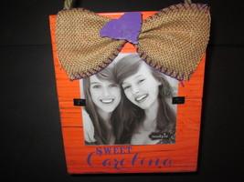 """Sweet Carolina"" Clemson Tigers Photo Frame, Distressed Wood and Burlap, NWT - $9.95"