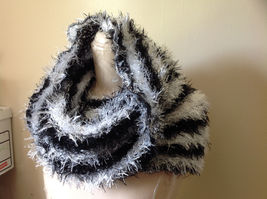 Black White Striped Magic Fuzzy Circle Scarf Can Be Worn Multiple Ways NO TAGS image 3