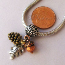 Autumn Treasures Gold Pine Cone Copper Acorn And Silver Leaf European Ch... - $30.00