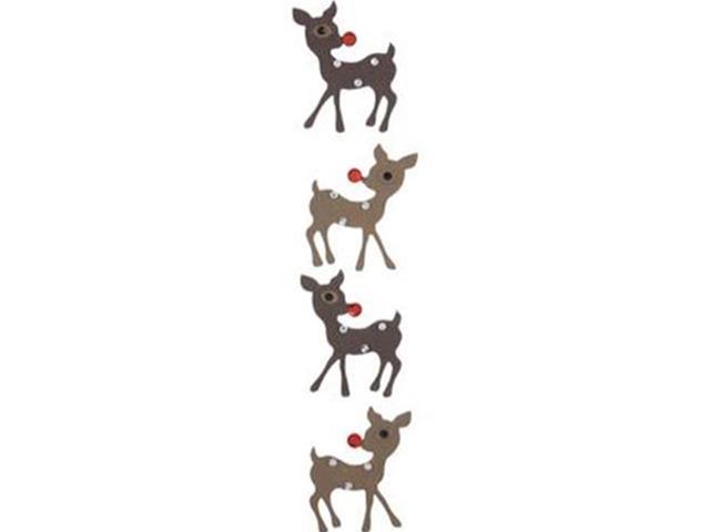 Paper Crafts-4 Pcs Rhinestone Reindeer Stickers