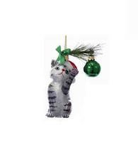 """KURT ADLER NOBLE GEMS 5"""" GREY/WHITE CHRISTMAS CAT KITTEN GLASS XMAS ORNA... - $15.88"""