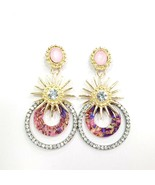 E0312 Pink Tone Acrylic Clear Rhinestones Circle Sun Drop Dangle Post Ea... - $9.99