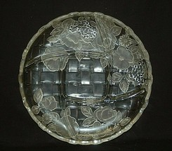 Mikasa Embossed Frosted & Clear Glass 5 Part Serving Platter Floral Designs - $39.59