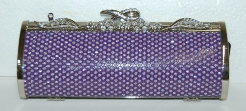 IN'S Purple Silver Clutch Purse Optional Chain 435236-400