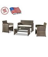 Oshion Outdoor Backyard Patio Polyethylene Rattan Furniture Four-Piece-Gray - $225.99