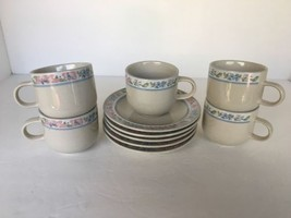 "TIENSHAN Stoneware 5 Cup & Saucer Sets 3 1/4"" Dia 3"" Tall Dinnerware DW/... - $19.75"