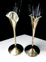 2 LENOX Crystal Champagne Flute Wedding Anniversary Silverplate Stems Heart image 2