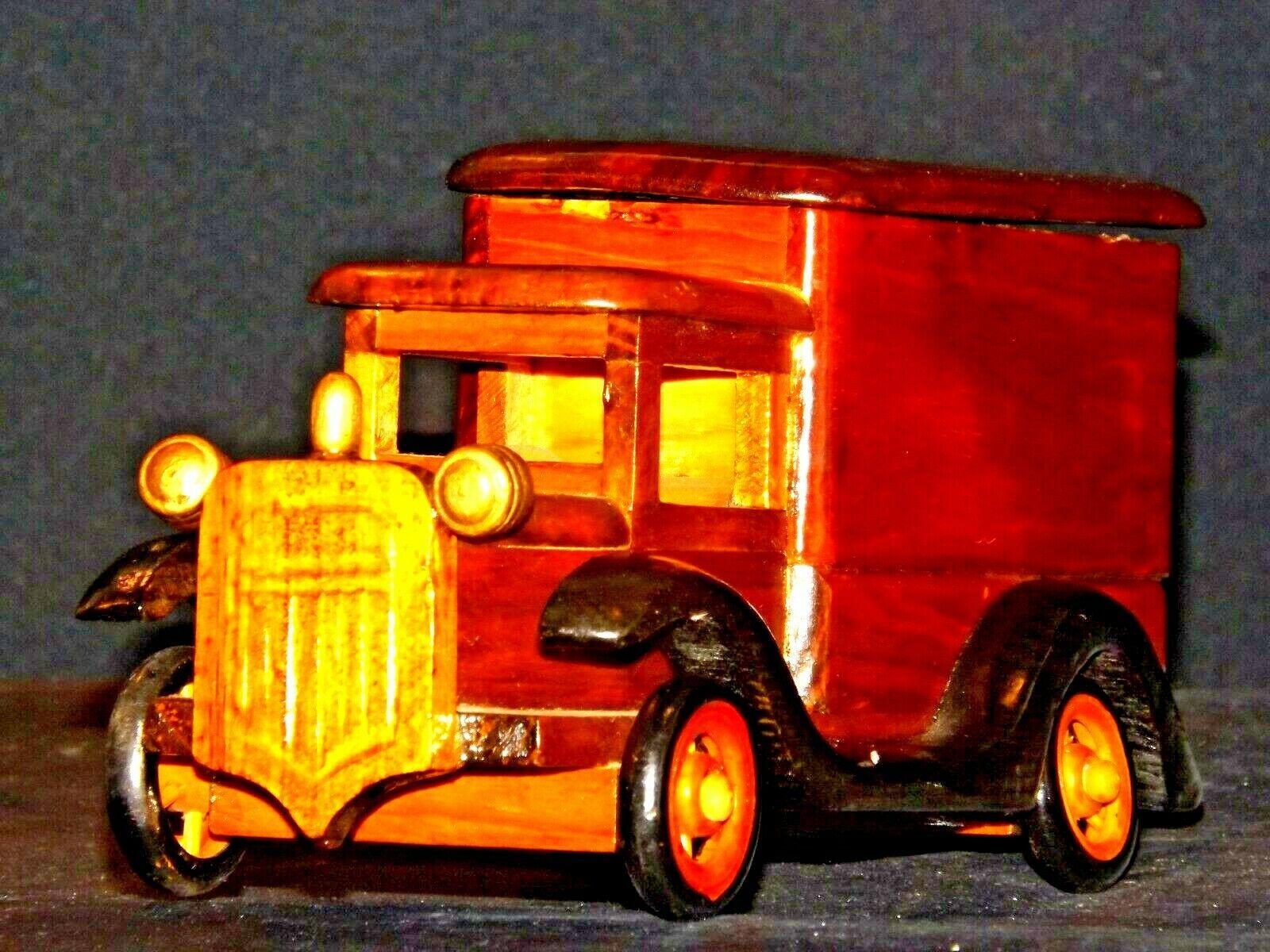 Wooden Toy Milk Truck AA19-1569 Vintage