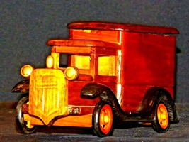 Wooden Toy Milk Truck AA19-1569 Vintage image 1