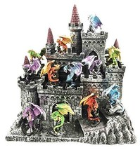 Ebros 12 Miniature Medieval Dragons With Castle Fortress Display Stand F... - $67.31