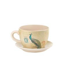 Patio Planter, Decorative Outdoor Planters, Contemporary Peacock Teacup ... - $31.83