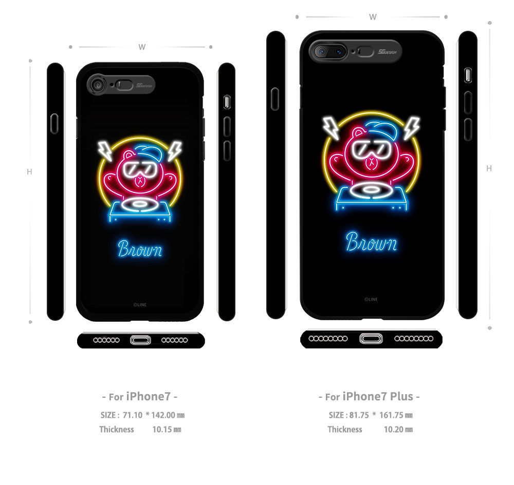 LINE Friends NEON Lighting Case iPhone 7/7Plus Character Phone Cover Mobile Skin