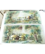 Pair of Signed African Sand Paintings Vintage Art Africa Canvas Large Or... - $59.39