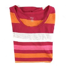 A.N.A. Women's Size M Pullover Short Sleeve Cotton Striped Mult-color T-Shirt EC image 5