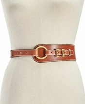 Michael Michael Kors Double-Buckle Leather Belt (Brown/Gold, L) - $39.60