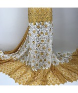 5Y Beaded Guipure Fabric Nigerian Cord Lace Fabric African Wedding Dress... - $79.99