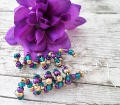 Memory Wire Earrings, Gold and Purple, Dangle Earrings, Silver Earrings,... - $12.00