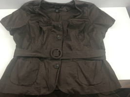 Lane Bryant Top 28 Brown Belted Button Down Cotton Spandex Short Slv Shi... - $17.82