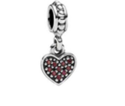 Authentic Pandora Red Pave Heart Dangle Charm, 791023CZR - $42.08