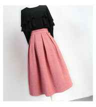 Lady Pink Winter Wool Skirt Pink High Waist Midi Pleated Skirt Winter Party Plus image 8
