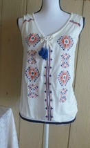 $44.00 American Rag Embroidered Lace-up-front sleeveless Peasant Top, Egret - $9.25