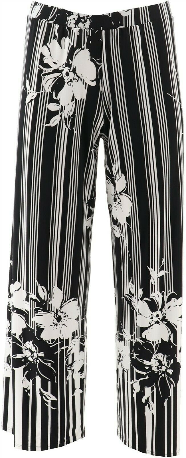 Primary image for Susan Graver Petite Printed Knit Wide-Leg Pants Black Floral PXL NEW A351027