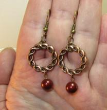 Bronze Breaded Wreath Made w Swarovski Element Crystal Pearl Dangle Earr... - $13.00