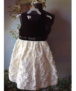 American Princess Girls Black/Cream Brooch Rosette Skirt Occasion Dress ... - $29.69