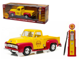 1953 Ford F-100 Pickup Truck Shell Oil with Vintage Gas Pump 1/18 Diecas... - $89.95