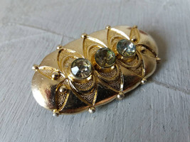 Vintage gold tone brooch with 3 clear rhinestones Made in USSR Vintage c... - $15.00