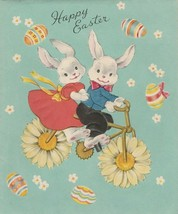 Vintage Easter Card Bunny Rabbits on a Bicycle Built for Two Unused Enve... - $9.89