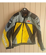 AGV Sport Leather Suzuki GSXR Motorcycle Race Jacket Black Yellow Silver... - $150.00