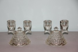 Set of 2 Vintage Double Light Candlesticks in Laced Edge-Clear by Imperial Glass - $19.80