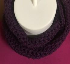 handmade CIRLE INFINITY COWL crochet scarf PURPLE SOFT CHUNKY Neckwarmer... - $10.22