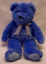 "Ty 1999 Beanie Buddy Periwinkle Blue Teddy Bear W/ Silver Bow 13"" Stuffed Animal - $16.34"