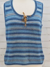 RALPH LAUREN LRL Sleeveless Sweater Vest Women's L Cotton Blue Southwest... - $38.61