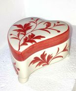 Heart Shaped trinket or jewelry box Red and White  Modern Floral design - $24.08