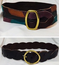 Lot/2 FOSSIL Ladies Size Small/Medium Colored Suede Leather Wide Belt Br... - $24.53