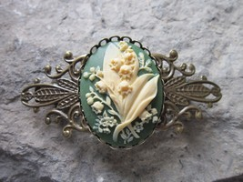 LILY OF THE VALLEY CAMEO BRONZE FILIGREE BARRETTE -GREEN- BRIDAL, VICTOR... - $21.13