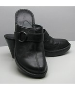 BORN Black Leather MULES Woman's SHOES 8 / 39 Wedge Type Heel NICE - $17.81