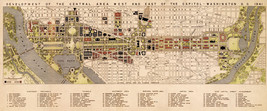 Development Map of Downtown Washington DC the White House Art Poster Pri... - $12.38