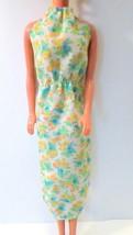 Vtg  Clone Barbie Doll Clothes Floral Dress Green White Blue Orange Yellow 1980s - $17.50
