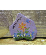 Flower and Butterfly Small Welcome Rock - $9.95