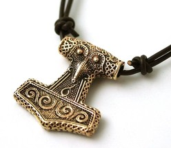 Bronze Viking Raven Crow Odin Thors Hammer Mjolnir Pendant Necklace Nors... - $44.15