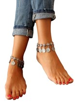 PearlPlus 1 Pair Vintage Boho Style Chain Anklet Set Coin Tassels Beach ... - $24.54