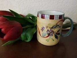 Lenox Winter Greetings Everyday Goldfinch Mug Coffee Cup Stoneware 14 Oz Euc - $6.93