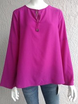 ELLEN TRACY Womens Bell Sleeve Violet Purple Top Tunic Blouse with Tie -... - $19.99