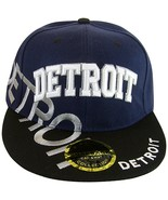 Detroit Large Script Men's Snapback Baseball Caps (Navy/Black White Script) - $12.95