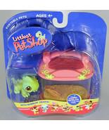 2005 LITTLEST PET SHOP Portable GREEN IGUANA WITH PINK TERRARIUM CASE NE... - $24.74