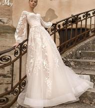 Gorgeous Designer Customized Appliqued A-Line Long Sleeve Vintage Wedding Dress image 2